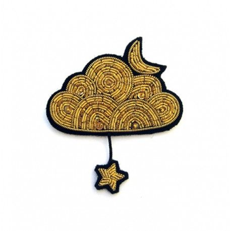 "Macon&Lesquoy Large hand-embroidered ""Golden cloud"" brooch"