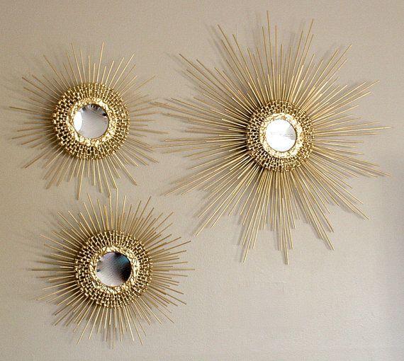Trio of Starburst / Sunburst Mirror  (1) 27inch (2) 16 inche (gold w/ points)