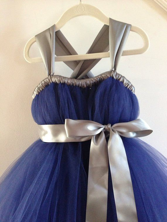 Navy and silver flower girl dress