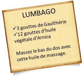 Apprenez à soulager un lumbago avec des remèdes naturels : huiles, cataplasme d'argile ou homéopathie. Des recettes simples pour soulager un lumbago.