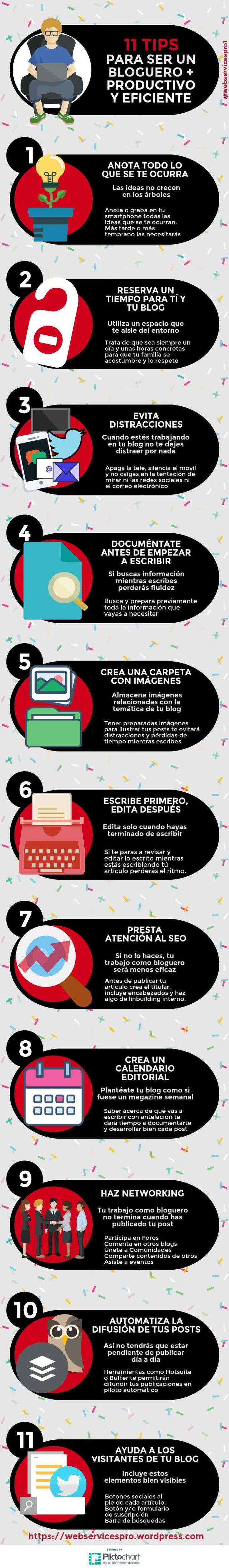 11-consejos-para-ser-un-bloguero-más-eficaz-y-productivo #BlogueroProductivo #Blogging #Blog #Bloggers #TipsBlogging #SocialMedia #Infografía