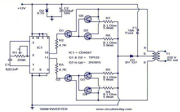 Cd4017 100 Watt Inverter 12dc To 220ac Circuit Diagram Power Inverters Electronics Circuit