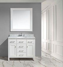 "42"" London Single Sink Vanity Set in White Finish"