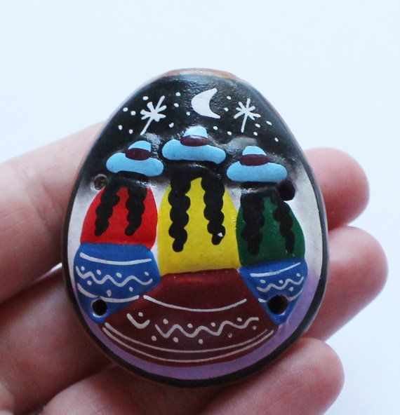 Vintage Painted Clay Whistle Pendant by paststore on Etsy