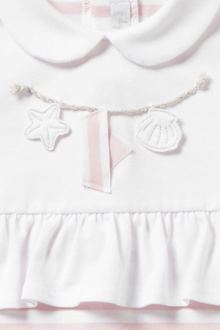 Italian Luxury PINK AND WHITE LONG-SLEEVED PLAYSUIT WITH BOAT   Il Gufo