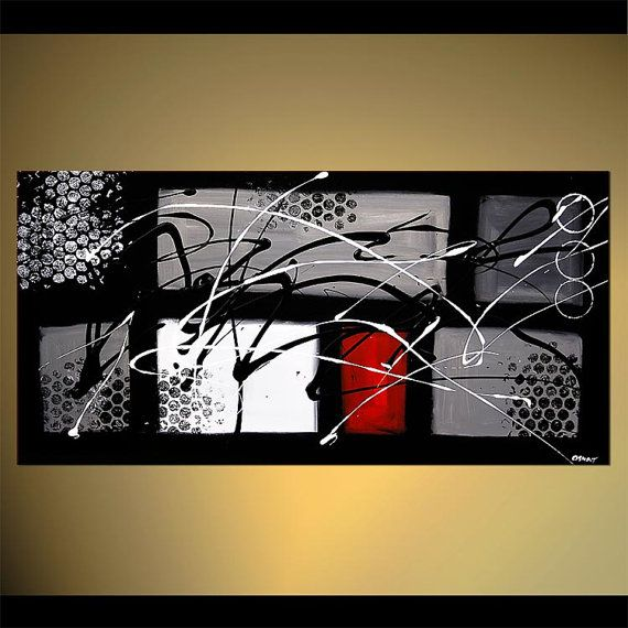 "Black White Red Contemporary Abstract Painting, Original Modern Textured Acrylic Painting by Osnat - MADE-TO-ORDER - 48""x24"""