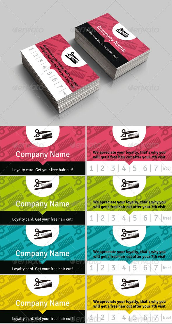 Haircut Loyalty Card - PSD Template • Only available here ➝ http ...