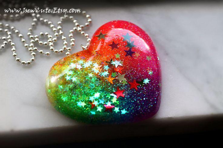 Huge Heart Pendant Necklace, Rainbow Resin Pendant Necklace, Rainbow Colorful, Large Statement Necklace Big Heart Pendant, Handmade isewcute by isewcute on Etsy