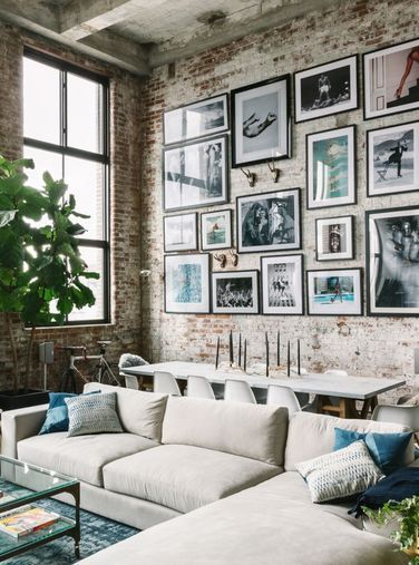 Beautiful art gallery wall for and industrial loft. Looking for art photo  prints to create