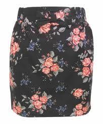 falda recta de flores con moño