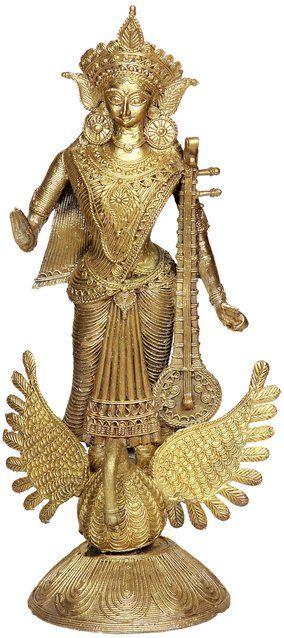 Goddess Saraswati Standing on Swan (Tribal Sculpture from Bastar)