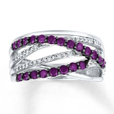 Purple Diamond Ring 1 ct tw Round-cut 14K White Gold