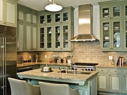 Cool Gray Granite Countertops Complement This Sage Green