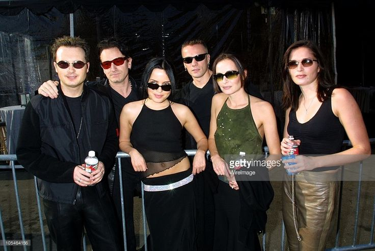 Bono and Larry Mullen Jr. of U2 with (front) Jim Corr, Andrea Corr, Caroline Corr and Sharon Corr of The Corrs