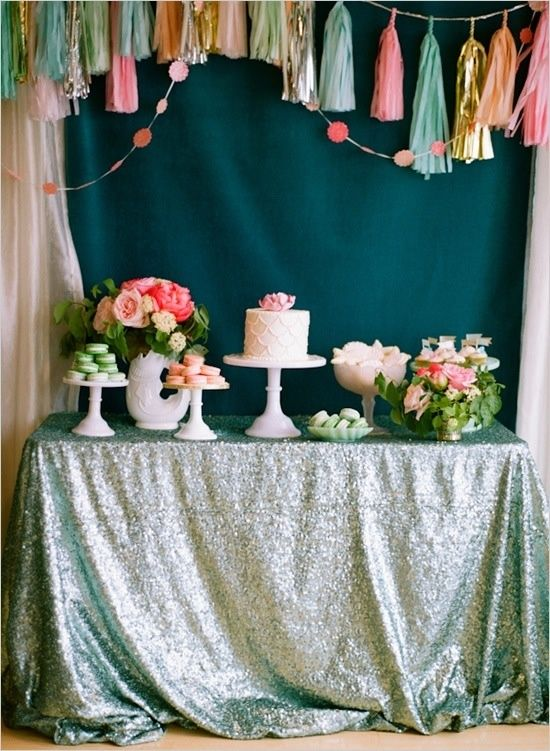 milk glass cake stands and sequin tablecloths