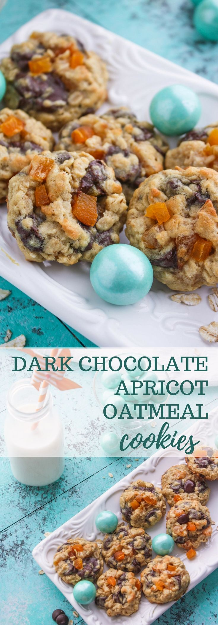 Dark Chocolate Apricot Oatmeal Cookies are chewy and loaded with goodies! Dark Chocolate Apricot Oatmeal Cookies are tasty cookies to sink your teeth into! Yum! #cookies #dessert #snack