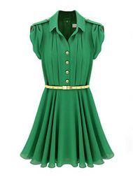 Elegant Style Pink Green Chiffon Dress With Belt