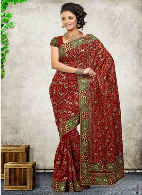 Fancy Red Color Faux Georgette Based Embroidered #Saree