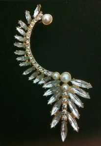Hook Over Earring Faux Pearl Crystal Gold Plated