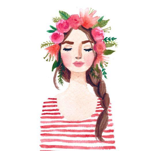 Impression de peinture aquarelle originale de la fille Couronne fleurs. Lèvres roses, fleurs de rayures, florales. Fashion illustration lady, tresse de corail, beauté,
