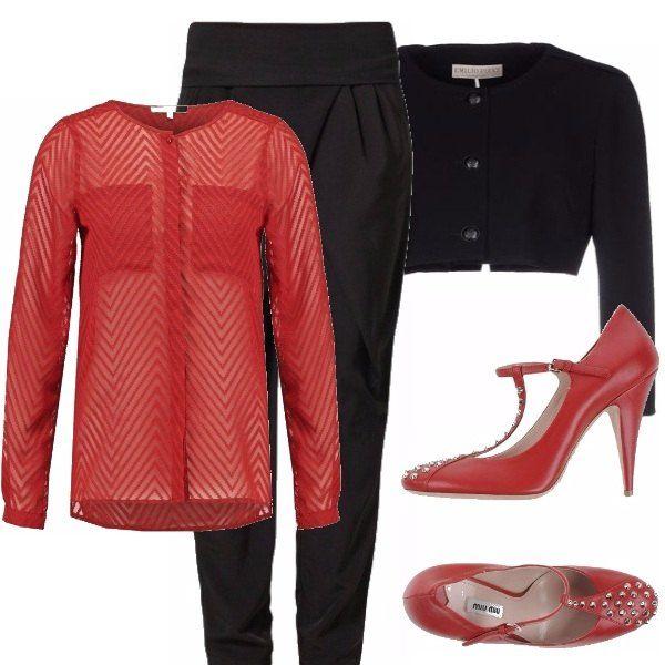 Queste bellissime scarpe vanno valorizzate con un look sobrio ed elegante, per questo ho pensato ad un pantalone nero, una camicetta trasparente rossa e un giacchino corto nero...che ne pensate?