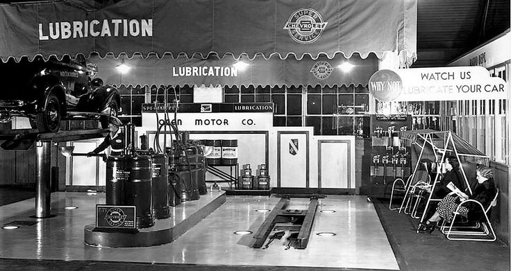 1930's Chevrolet dealership service dept. & waiting customers