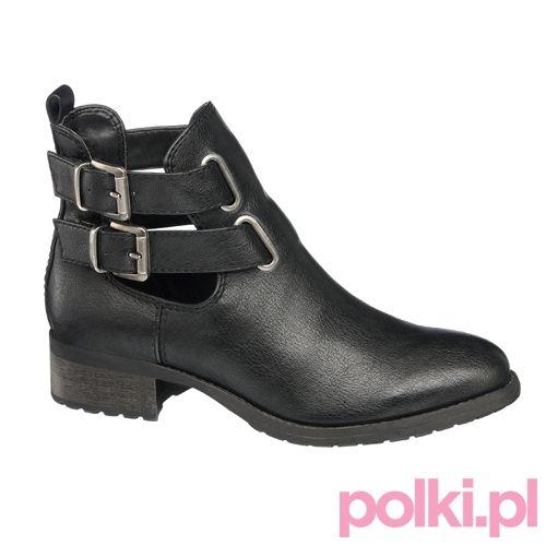 Czarne buty za kostkę Deichmann wiosna 2014