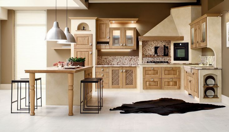 Cucina in muratura con ante in massello di rovere tinto naturale