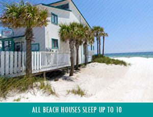 View of the Beach House rentals at the Sandpiper Beacon Beach Resort in Panama City Beach, FL