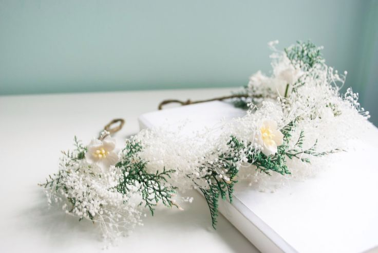 baby's breath with cherry blossoms bridal floral crown, tiara, flower girl crown, gypsophila wedding hair accessories - Starfall by afaearrangement on Etsy https://www.etsy.com/listing/176718522/babys-breath-with-cherry-blossoms-bridal