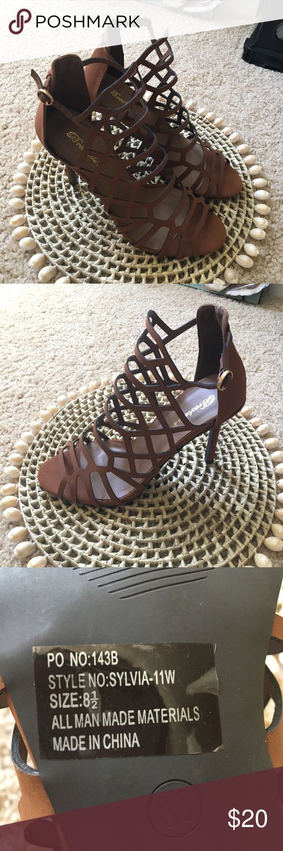 Strappy heels! Brown strappy high heels, NWOT!! Never worn, just tried on. Size 8 1/2! Breckelles Shoes Heels