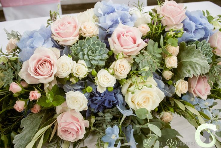 Blush pink and pale blue long and low table  arrangement - ceremony table flowers - Pastel wedding flowers - Laurel Weddings