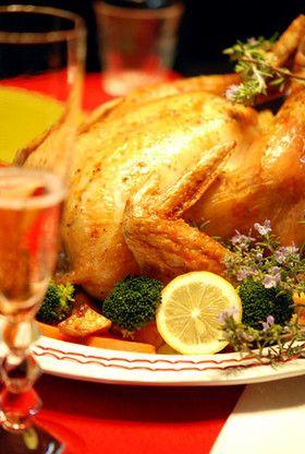 クリスマスに丸鶏ローストチキン