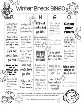 This simple, single page has activities for Winter Break that cover several First Grade CCSS in Reading, Math and Writing. A HUGE thank you to TpTer Dani for sharing the Spanish translations!
