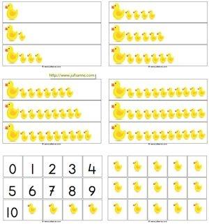 Lente telspel - eenden tellen met cijfers en losse eendjes - Juf Sanne