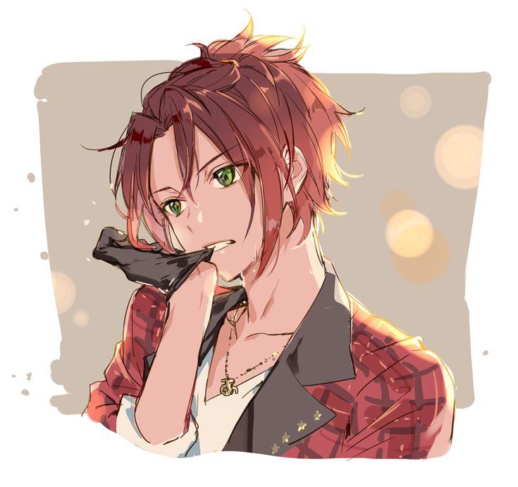 anime guy green eyes red hair