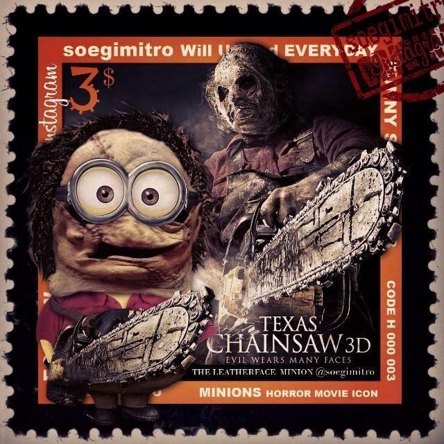 Texas chainsaw, Minions Halloween: minions horror movie,  soegimitro will  every day,  Cara de cuero (La matanza de Texas)