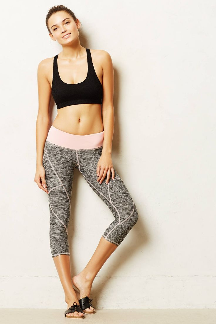 Pure + Good Seamed Marled Rose Crops - Anthro activewear!