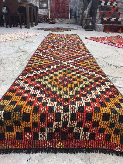 Vintage Turkish Kilim-Embroidery rug Runner from Mut Region of Turkey. About 35 years old . Completely hand woven and embroidered,wool on wool and the wool is completely hand-spun. totalIy clean and in perfect condition; ready to use.  Dimensions: 2'3'' x 11' ft / 3.36 x 0.68 mt Stock Number: 354 We accept all credit cards and PAYPAL