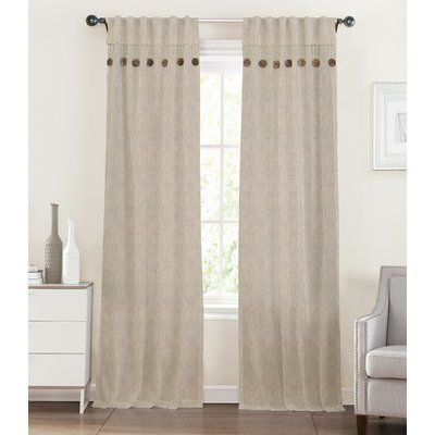 The Balmont Collection Button Linen Solid Semi-Opaque Rod Pocket Curtain Panels