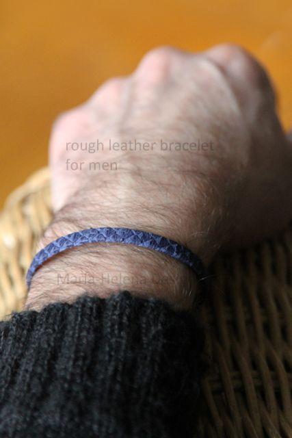Lapiz blue with sterling silver leather bracelet for men // Maria-Helena Design.