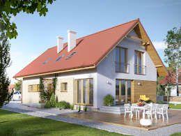 Wizualizacja projektu domu Amarylis 2: styl nowoczesne, w kategorii Domy zaprojektowany przez BIURO PROJEKTOWE MTM STYL