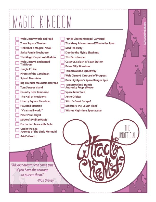 Series of posters created for myself and fellow members of the Disney College Program to keep track of the attractions they have done on their program at Walt Disney World. Feel free to print and use...