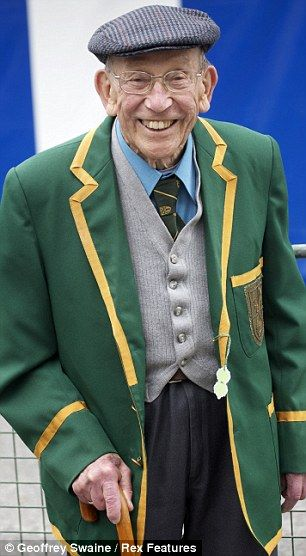 Bright and bold: 88-year-old regatta fan George Roberts donned an emerald green blazer whilst another attendee went for a more statement look with his Union Jack design