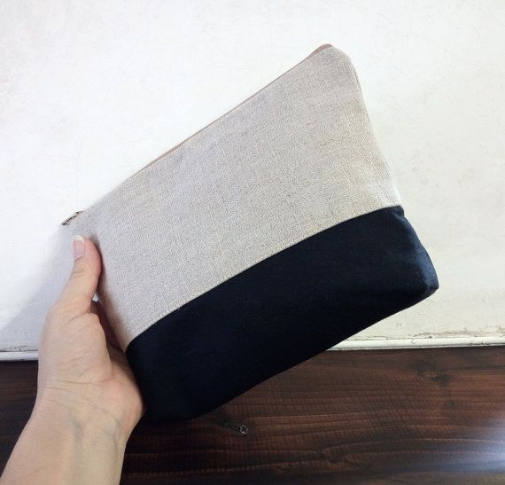MakeUp Bag bag linen ecru and cotton black by FlaviacAccessories