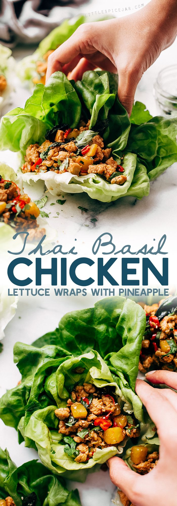 Springtime Basil Chicken Lettuce Wraps - basil chicken stuffed in lettuce wraps with garlic, red chilies, and sweet pineapple to tame that heat! The perfect protein-packed, low carb meal! #lettucewraps #thaibasilchicken #basilchicken #chickenlettucewraps | Littlespicejar.com