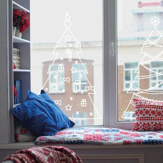 Zin in de feestdagen, maar geen zin in een kerstboom? Teken er dan een op je raam! Het ruikt misschien niet net zo lekker, maar ook geen gedoe met de stofzuiger. Deze #raamtekening is ook heel geschikt om in een etalage te tekenen.