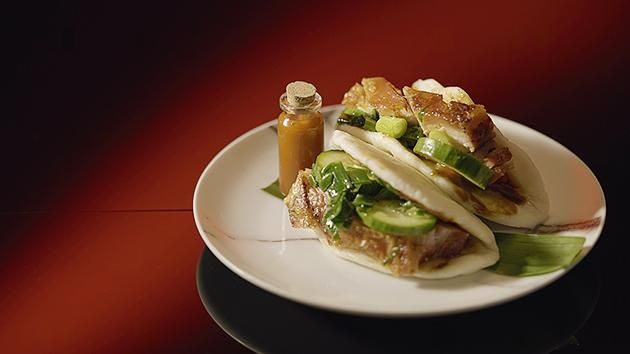 Crispy Pork Belly with Steamed Bun and Pickled Cucumber