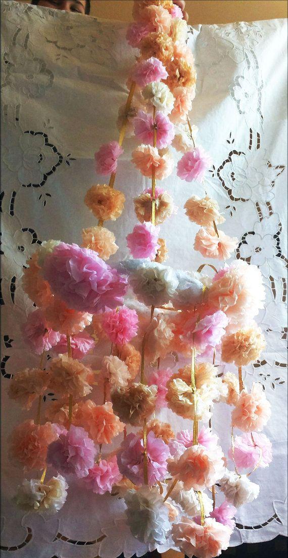 Tissue Paper Flower Garlandlight Pink By Cottagevintageshabby