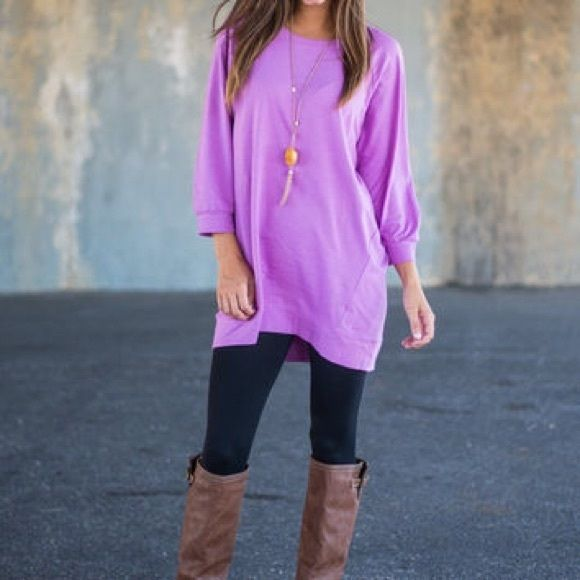Slouchy Dolman Tunic Slouchy, dolman, 3/4 length, violet tunic! So comfy! Mint Julep Boutique Tops Tunics